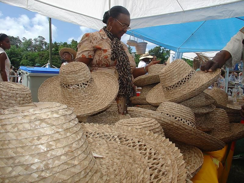 seller of Bakoua at the market, typical hat of Martinique