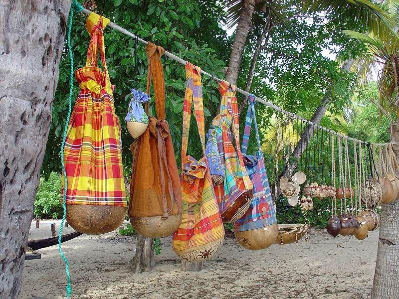 calabash handicrafts in the Salines beach in Martinique